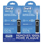 Oral-B Pro 500 Rechargeable Toothbrush, 2 pk.