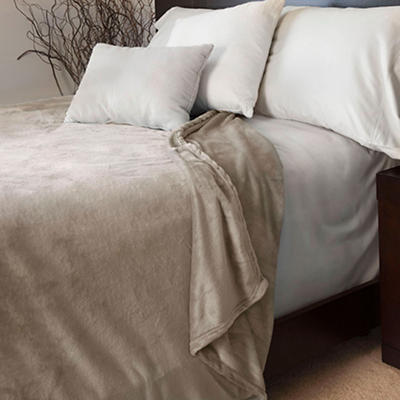 Lavish Home Full/Queen-Size Super Soft Flannel Blanket - Beige