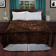 Lavish Home Solid Soft Thick Mink Blanket - Coffee