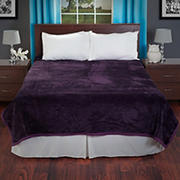Lavish Home Solid Soft Thick Mink Blanket - Purple