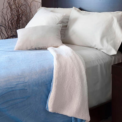 Lavish Home Full/Queen-Size Fleece Blanket with Sherpa - Blue