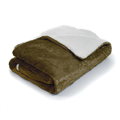 Lavish Home Twin-Size Fleece Blanket with Sherpa - Brown