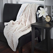 Lavish Home Plush Striped Faux Fur Throw - Beige