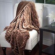 Lavish Home Plush Striped Faux Fur Throw - Brown