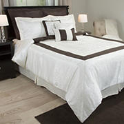 Lavish Home Camille Comforter Set - White/Ivory/Brown