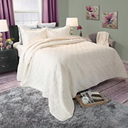 Lavish Home Andrea Embroidered Quilt Set - Ivory