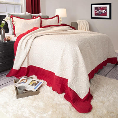 Lavish Home Lydia Twin-Size Embroidered 2-Pc. Quilt Set  - Red/White