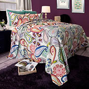 Lavish Home Lizzie Quilt Set - Blue/Green/Red