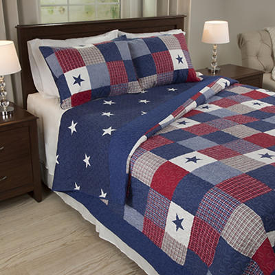 Lavish Home Caroline Twin-Size 2-Pc. Quilt Set - Red/White/Blue