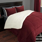 Lavish Home Sherpa/Fleece Comforter Set - Burgundy