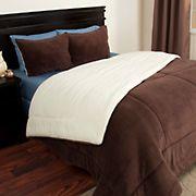Lavish Home Sherpa/Fleece Comforter Set - Chocolate