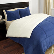 Lavish Home Sherpa/Fleece Comforter Set - Navy