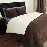 Lavish Home Sherpa/Fleece Comforter Set - Chocolate