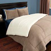 Lavish Home Twin-Size 2-Pc. Sherpa/Fleece Comforter Set - Taupe