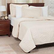 Lavish Home Solid Embossed Quilt Set - Ivory