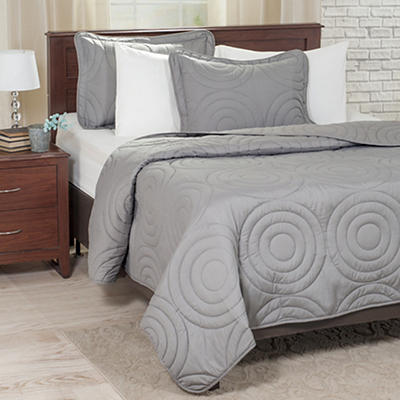 Lavish Home Twin-Size Solid Embossed 2-Pc. Quilt Set - Silver