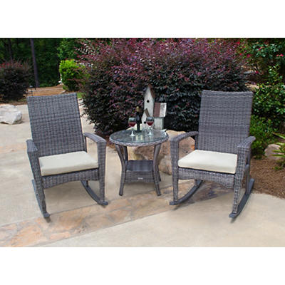 Tortuga Outdoor 3-Pc. Bayview Rocking Chair Set - Driftwood