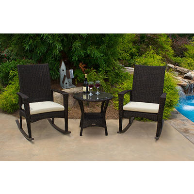Tortuga Outdoor Bayview 3-Pc. Rocking Chair Set - Pecan