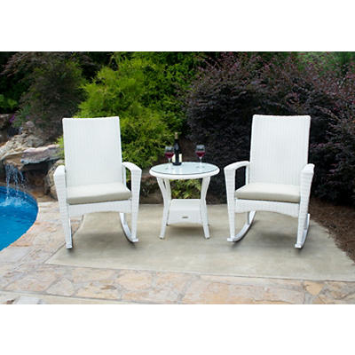 Tortuga Outdoor Bayview 3-Pc. Rocking Chair Set - Magnolia