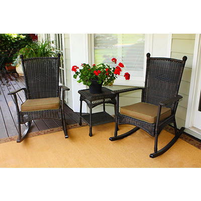 Tortuga Outdoor Portside 3-Pc. Classic Rocker Set - Dark Roast