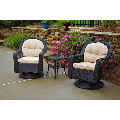 Tortuga Outdoor 3-Pc. Swivel Gliding Bistro Set - Brown
