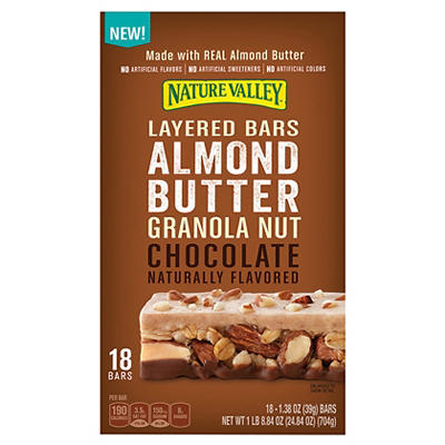 Nature Valley Almond Butter Granola Nut Chocolate Layered Bars, 18 ct.