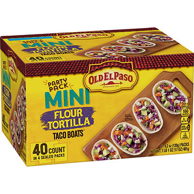 Old El Paso Mini Flour Tortilla Taco Boats Party Pack, 40 ct.