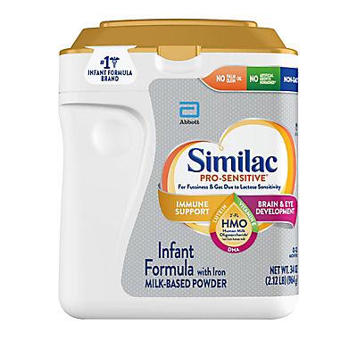 Similac Pro-Sensitive Non-GMO with 2-FL HMO Infant Formula with Iron Powder, 34 oz.