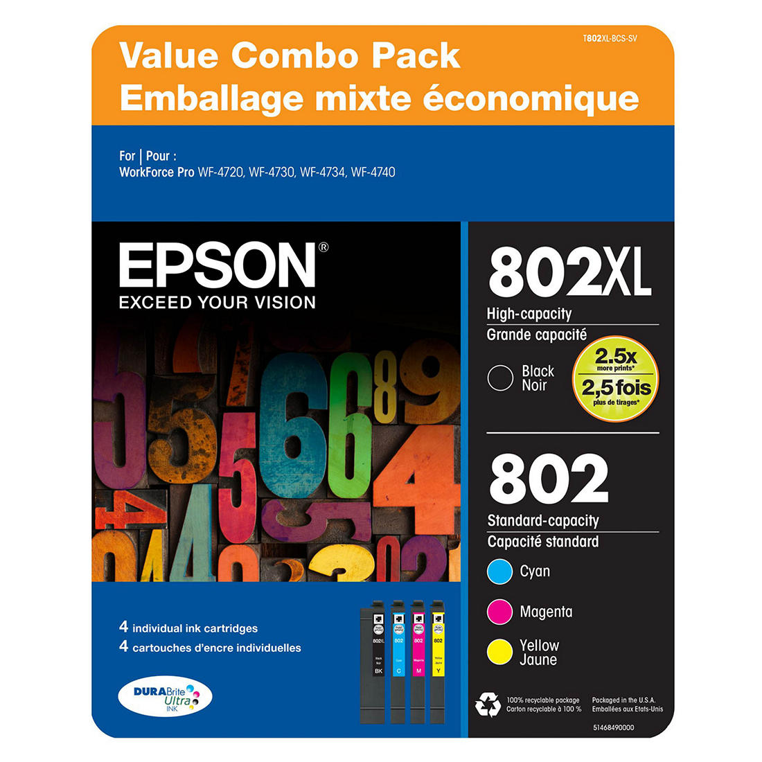 image relating to Epson Ink Coupon Printable identify Epson T802 Shade Combo Ink Cartridges, 4 pk.