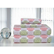 Pointehaven Printed Flannel Full-Size Sheet Set - Green and Pink Starburst