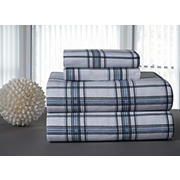 Pointehaven Printed Flannel Full-Size Sheet Set - Blue Plaid