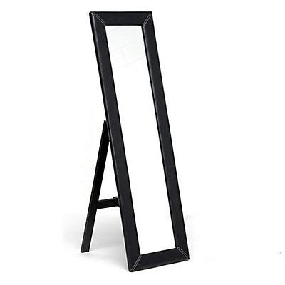 "Baxton Studio McLean 17 3/4""W x 61 1/4"" Faux Leather-Framed Mirror - D"