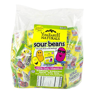 YumEarth Naturals Sour Beans Snack Packs, 50 ct.