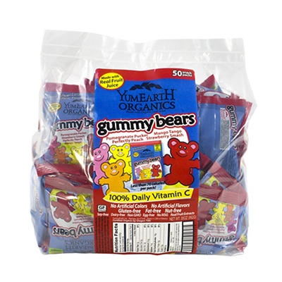 YumEarth Organics Gummy Bear Snack Packs, 50 ct.
