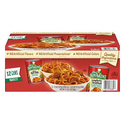 Chef Boyardee Mini Ravioli and Spaghetti & Meatballs Variety Pack, 12