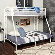 W. Trends Sunrise Twin/Full-Size Metal Bunk Bed - White