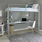 W. Trends Sunrise Twin-Size Workstation Metal Bunk Bed - Silver