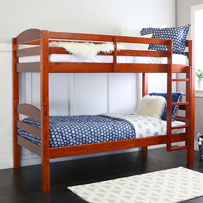 W. Trends Twin-Size Solid Wood Bunk Bed - Cherry