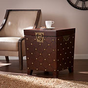 SEI Verona Brass Stud End Table Trunk - Espresso