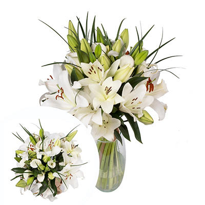 InBloom White Dove Bouquet, 19 Stems