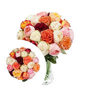 InBloom Color Wonders Garden Rose Bouquet, 24 pc.