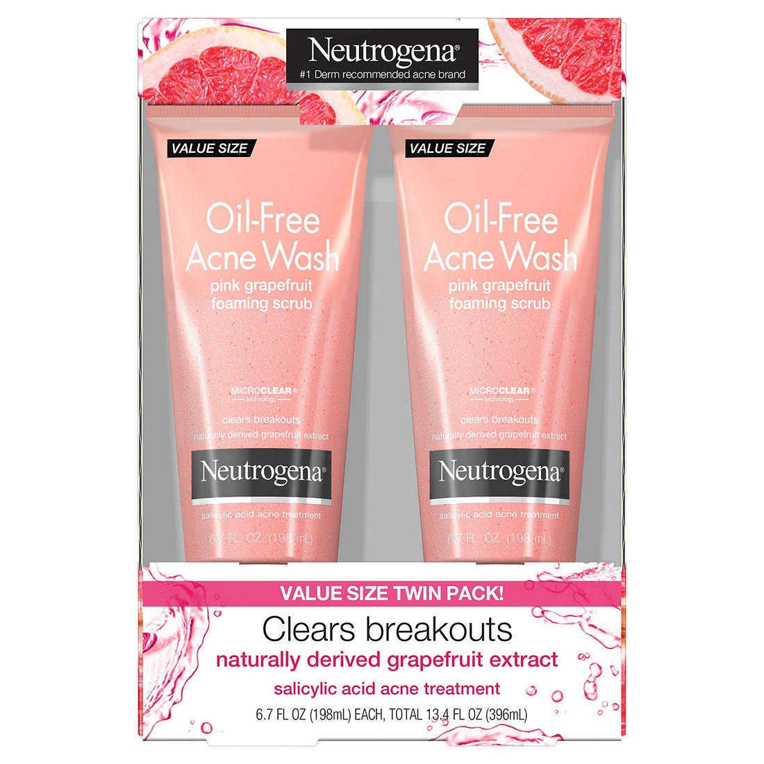 Neutrogena Oil Free Pink Grapefruit Acne Face Wash Foaming Scrub