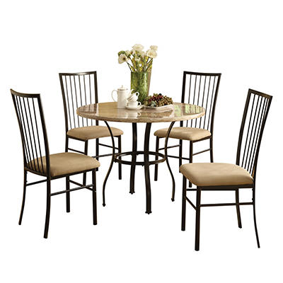 Acme Darell 5-Pc. Faux Marble Dining Set - Beige