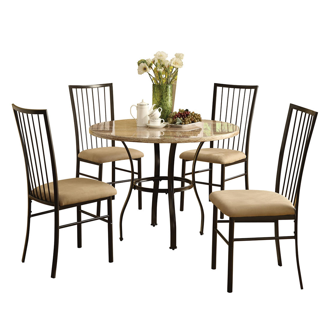Acme Darell 5 Pc Faux Marble Dining Set Beige