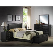 Acme Ireland Faux Leather Eastern King-Size Bed - Black