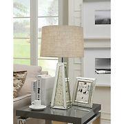 Acme Britt Mirrored Pyramid Table Lamp - Chrome