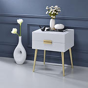 Acme Denvor End Table - White and Gold