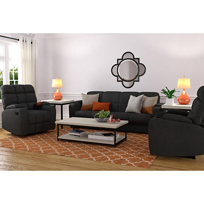 Handy Living 3-Pc. Storage Convert-a-Couch and Recliner Set - Gray