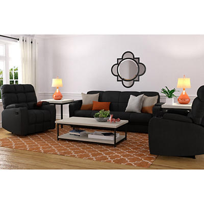 Handy Living 3-Pc. Storage Convert-a-Couch and Recliner Set - Black
