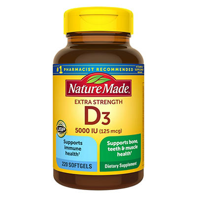 Nature Made Vitamin D3 5,000 IU Softgels, 220 ct.